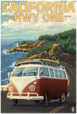 California Highway One Coast Vw Van Posters