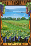 The Finger Lakes, New York - Vineyard Scene Prints