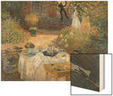The Luncheon: Monet's Garden at Argenteuil, circa 1873 Wood Print by Monet Claude