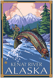 Fly Fishing Scene, Kenai River, Alaska Posters