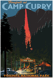 Firefall And Camp Curry - Yosemite National Park, California Posters