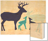 Blue Deer Wood Print