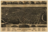 Fort Worth, Texas - Panoramic Map Prints