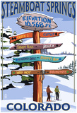 Steamboat Springs, Colorado - Ski Run Signpost Prints