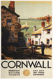 Cornwall, England - Street Scene With Two Men Working Railway Poster Prints