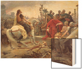 Vercingetorix Throws Down His Arms at the Feet of Julius Caesar, 1899 Wood Print by Lionel Noel Royer