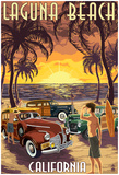 Laguna Beach, California - Woodies And Sunset Posters