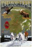 Iditarod Trail Topographic Map - Alaska Posters