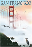 Golden Gate Bridge In Fog - San Francisco, California Posters