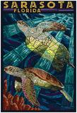 Sarasota, Florida - Sea Turtle Paper Mosaic Print