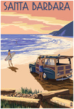 Santa Barbara, California - Woody On Beach Prints