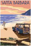 Santa Barbara, California - Woody On Beach Prints