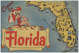 Come To Florida Map Of The State, Pin-Up Girl - Florida Poster