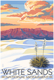White Sands National Monument, New Mexico - Sunset Scene Poster
