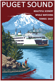 Ferry And Mount Rainier Scene - Puget Sound, Washington Posters