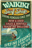 Waikiki Beach, Hawaii - Surf Shop Print