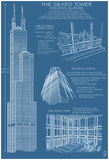 Sears Tower Blue Print - Chicago, Il, C.2009 Posters