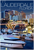 Ft. Lauderdale, Florida - Night Scene Posters