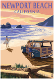 Newport Beach, California - Woody On Beach Posters