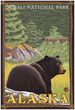 Black Bear In Forest, Denali National Park, Alaska Posters