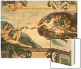 The Sistine Chapel; Ceiling Frescos after Restoration, the Creation of Adam Wood Print by  Michelangelo Buonarroti