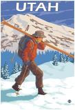 Skier Carrying Skis - Utah Prints