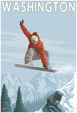 Snowboarder Jumping - Washington Photo