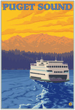 Ferry And Mountains, Puget Sound, Washington Posters