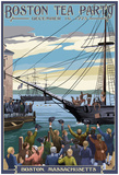 Boston, Massachusetts - Boston Tea Party Scene Poster