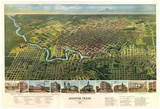 Houston, Texas - Panoramic Map Posters