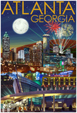 Atlanta, Georgia - Skyline At Night Poster