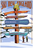 New England - Ski Areas Sign Destinations Posters