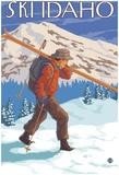 Skier Carrying Snow Skis, Idaho Prints