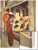 Woman with Parasol in Front of a Hat Shop, 1914 Wood Print by Auguste Macke