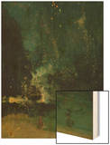 Nocturne in Black and Gold, the Falling Rocket, C.1875 (Oil on Panel) Wood Print by James Abbott McNeill Whistler