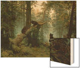 Morning in a Pine Forest Wood Print by Ivan Ivanovitch Shishkin