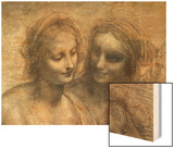 The Virgin and Child with Ss. Anne and John the Baptist, Detail of Heads of the Virgin and St. Anne Wood Print by  Leonardo da Vinci