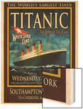 Titanic White Star Line Travel Poster 2 Wood Print by Jack Dow