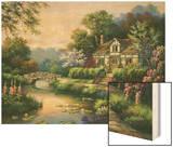 Swan Cottage II Wood Print by Sung Kim