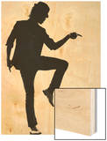 Full Length Silhouette Of A Young Man Dancer Dancing Funky Hip Hop R And B Wood Print