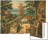 Log Cabin Porch Wood Print by Sung Kim