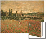 Mohnfeld Bei Vetheuil. Ca.1880 Wood Print by Monet Claude