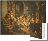Allegory of Five Senses or Tavern Scene Wood Print by Willem Van Herp