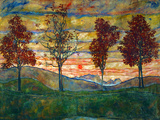 Four Trees, 1917 Poster by Egon Schiele