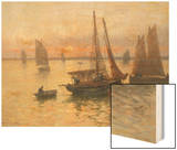 Breton Fishing Boats at Sunset Wood Print by Louis Timmermans
