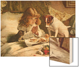 Suspense, Poster Wood Print by Charles Burton Barber
