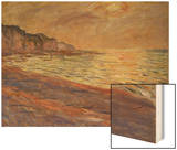 Beach at Pourville, Sunset, 1882 Wood Print by Monet Claude