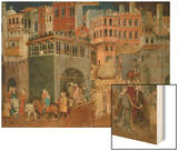 The Blessings of Good Government (Detail), Mural Wood Print by Ambrogio Lorenzetti