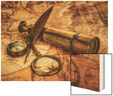 Vintage Magnifying Glass, Compass, Goose Quill Pen And Spyglass Lying On An Old Map Wood Print by Andrey Armyagov