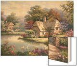 Swan Cottage I Wood Print by Sung Kim